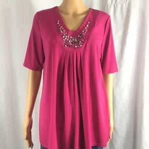 Susan Graver Liquid Knit Pink Embellished Blouse